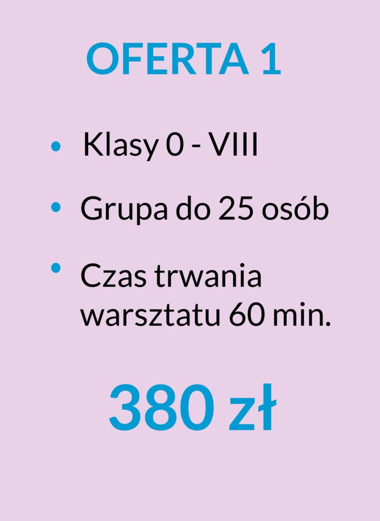 ilustracja z ofertą 380 zł dla klas 0 - 8