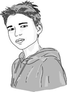 wizerunek, rysunek chłopca. Karol bohater opowiadania