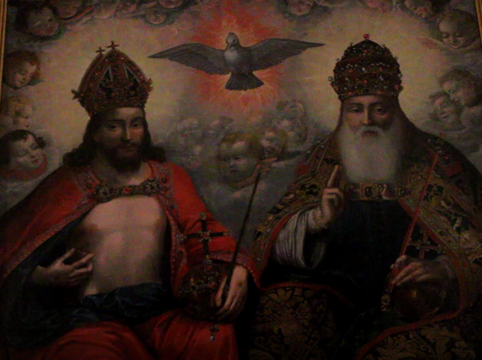 detal obrazu Św. Trójca Hermana Hana