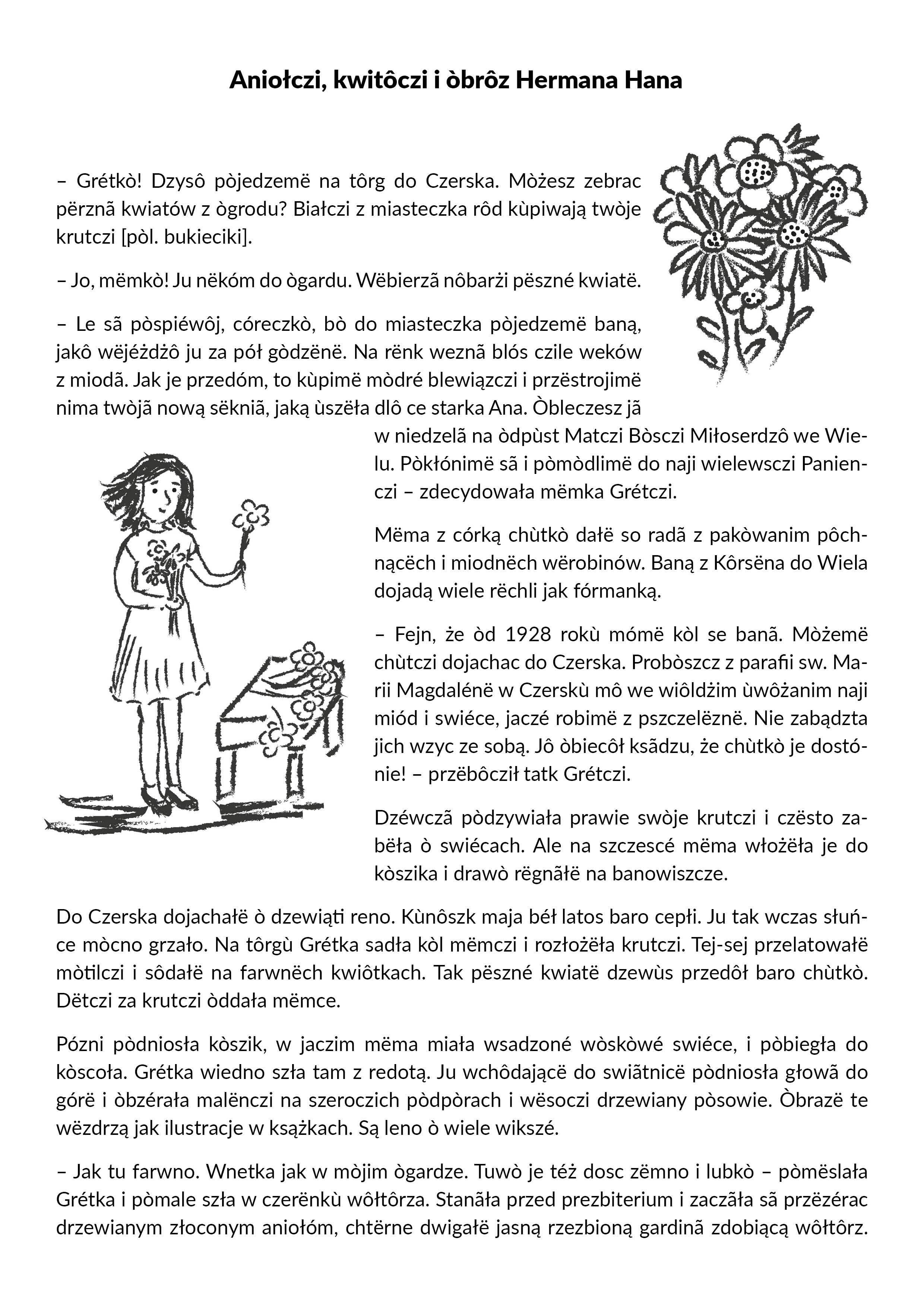 strona opowiadania w języku kaszubskim o Hermanie Hanie w Czersku