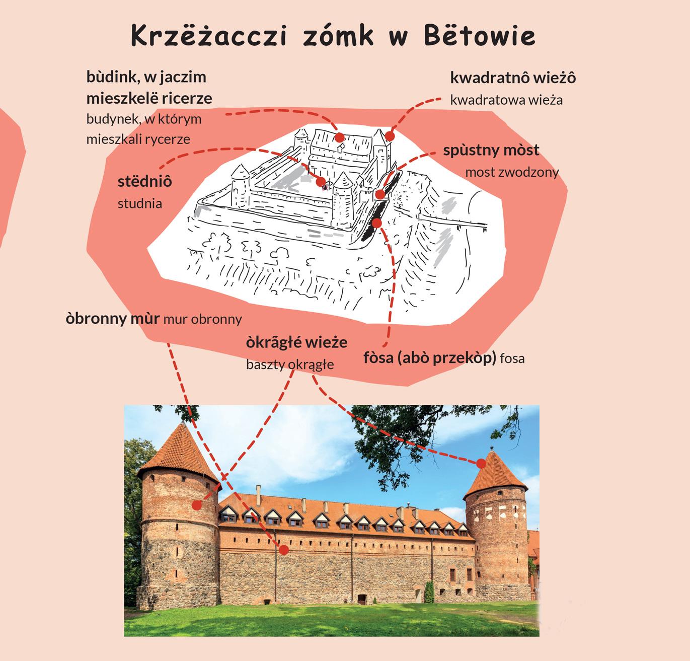 Zamek w Bytowie ilustracja na której wymieniono wszystkie elementy zamku.