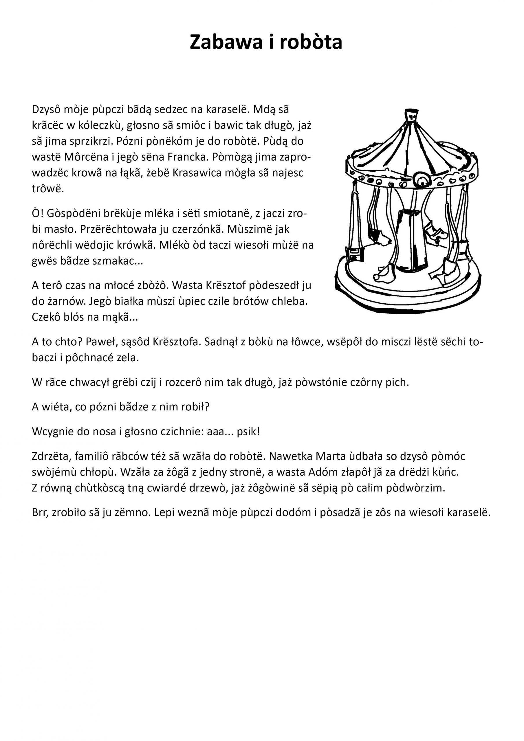 tekst opowiadania pt. Zabawa i robòta